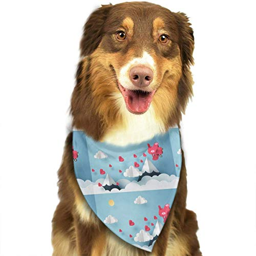 Gxdchfj Paper Art of Pink Plane Flying and Scatter Heart in The Sky Fashion Dog Bandana Pet Accessories Easy Wash Scarf