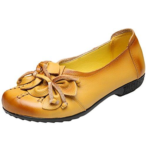 Vogstyle Damen Frühjahr/Sommer Neu Vintage Handgefertigte Große Blume Leder Flache Schuhe Art 2 Gelb EU35/CH35