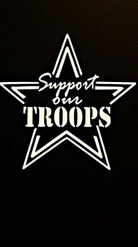Chase Grace Studio CGS680 Wandaufkleber Support Our Troops, Militär, Vinyl, Weiß, für Autos/LKW, Vans/SUV/Laptops, 14 x 14 cm -