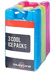Mini blocs de glace réfrigérants Milestone (pack de3) - Rouge/Bleu/Vert, 0,1litre