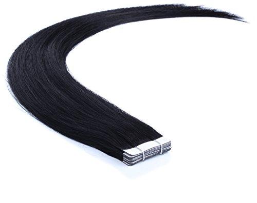 Remy Echthaar Tape On/In Extensions Haarverlängerung 10 Tressen mit dem extra starken WEISSEN TAPE (60cm, 01 - Schwarz) -