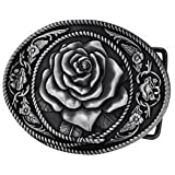 Western Belt Buckles Silver Vintage Rose Buckle Flower Country