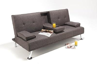 TV Style Linen Fabric Cinema Sofa Bed Futon with Drinks Holder. Beautiful Chrome Legs