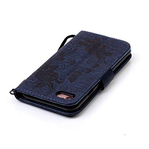 iPhone 7cover case, Ledowp Samsung iPhone 7Premium custodia a portafoglio in pelle PU, Full Body Butterfly pattern design magnetico staccabile in pelle portafoglio Flip Cover per iPhone 711,9cm bl Navy Blue