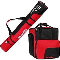 BRUBAKER Conjunto \'Super Function 1.0\' Bolsa para botas y Casco de ski junto a \'Carver Pro 1.0\' Bolsa para un par de Ski - Negro / Rojo - 170 cms.