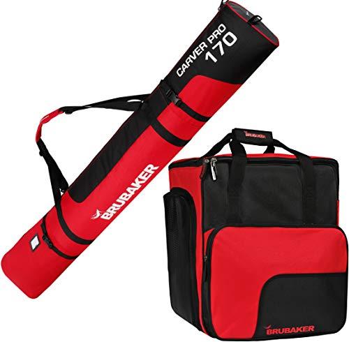 Brubaker Kombi Set CarverPro XP - Skisack mit gepolsterten Schulterträgern und Skischuhtasche für 1 Paar Ski + Stöcke + Schuhe + Helm - Schwarz Rot - 170 cm