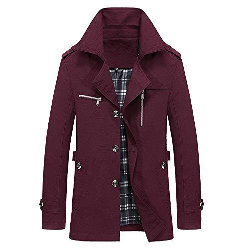 Herren Warm Wollmantel Stehkragen Wintermantel Kurzmantel Winter Jacke Business Freizeit Classic Slim Fit Mantel mit Reverskragen von Innerternet