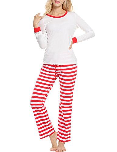 Avidlove Schlafanzüge Weihnachten Pyjamas Winter Damen Set Nachtwäsche Langarm und Streifen Böden Baumwolle Zweiteiliger Schlaf-Set (Gestreiften Set Pyjama Baumwolle)