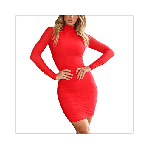 EXLEXD& New hot Ladies Sexy High Collar Long Sleeve Skinny Pleated Dress Winter Turtleneck Casual Sexy Party Slim Skinny Mini Dress Red M