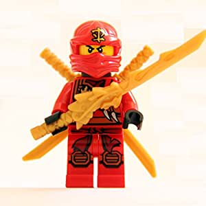 LEGO® Ninjago Minifigure - Kai Zukin Robe (Red Ninja) with Dual Gold Swords & Dragon Sword