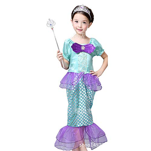 BaronHong Kleine Meerjungfrau Ariel Kostüm Kleid Badeanzug Mädchen Pailletten Prinzessin Geburtstag Party Cosplay Kleidung (lila-B, 140 cm) (Ariel Prinzessin Baby Kostüme)