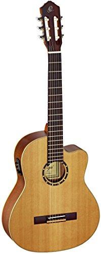 Ortega RCE131 Konzertgitarre in 4/4 Größe Cutaway elektrifiziert natur massive Decke im seidenmatten Finish mit hochwertigem Gigbag und Gurt