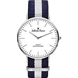 Julian Ross - Armbanduhr Analog Herren Quarz, Armband Stoff, Gehäuse Metall 40 mm, italienische Marke jr100103
