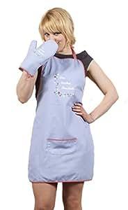 Ringelsuse Schürze Topflappen Grill Set Kochschürze Topfhandschuh Das Bisschen Haushalt Hellblau Unisex Grillen Backen Kochen Fairtrade