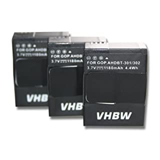 3 x vhbw Akku Set 1180mAh (3.7V) für GoPro Hero 3 III, 3 III CHDHX-301, 3+ III Plus Black, White, Silver, Edition wie AHDBT-201, AHDBT-301, AHDBT-302