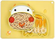 One-piece Silicone Placemat Cartoon Hippo-shaped Heat-resistant Baby Food Plate Mat with 3 Separated Placement