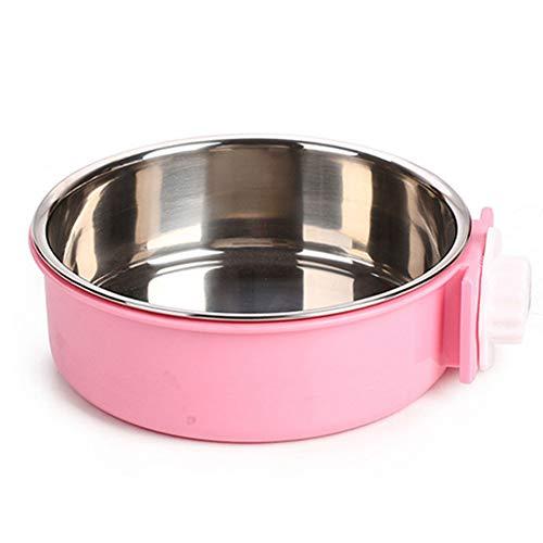 NaiCasy Crate Hundenapf Abnehmbarer Edelstahl Coop Cup hängen Pet Käfig Wasser Feeder Bowl Große Hundefutter Katzen Kaninchen Vögel (pink) Kleine Waren für Haustiere -