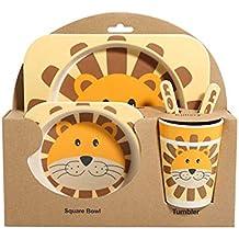Leoie Cartoon Tableware Set Bamboo Fiber Tableware for Baby Kids Supplies 5pcs/Set(Including Dinner Plate Bowl Cup Spoon Fork) Little Lion