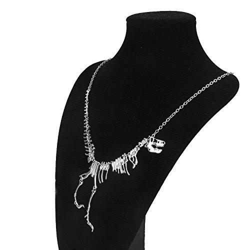 Image of Beautiful Bead Punk Style Dinosaur Skeleton Shaped Pendant Charm Chain Necklace Silver