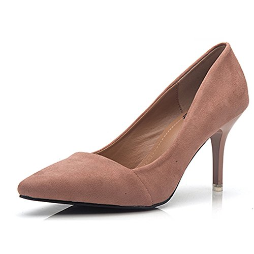 Bbdsj Donne Tacchi Alti Tacchi Sexy Fashion 8cm Tacchi A Punta Camoscio Tacchi Alti Scarpe Da Donna Professionali.rosa A