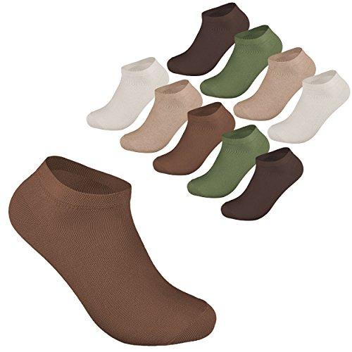 10 Paar Sneaker Socken Damen und Herren Kurzsocken Füßlinge Strümpfe Baumwolle in 43-46 Braun töne OEKO TEX STANDARD