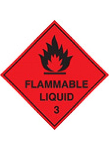 Caledonia Signs 59738 Flammable Liquid 3 100 S/A Etikett, 100 mm x 100 mm (Liquid-label Flammable)
