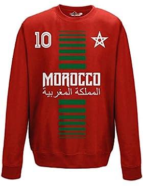 Felpa Girocollo Uomo Nazionale Sportiva Marocco Maroc 10 Calcio Sport Africa Stella 1 M