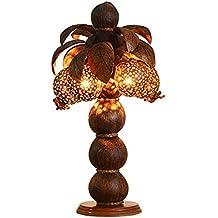Ideale Leselicht- Holz Kokosnuss Schale Dekoration Holz Kunst Lampe Südostasien Thai SPA Club Hotel Schlafzimmer Bedside Tischleuchte (Stil optional) --Schreibtisch und Nachttischbeleuchtung ( Farbe : A )