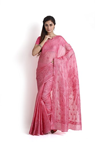 Pink Silk Saree with Chikankari ROTATION2