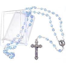 Saphir blau extra stark irisierende Rosenkranz Glasperlen in Geschenkbox