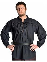 Mittelalter Hemd Schnürhemd Stehkragen Hemd natur - schwarz - dunkelrot - grün -hanffarben S-XXXL