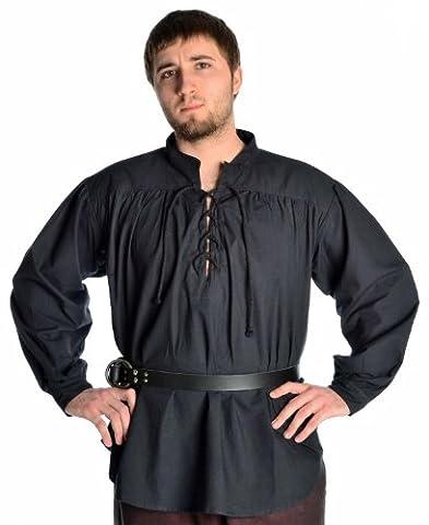 Hemad.De - Chemise Médiévale A Laçage Avec Col Officier - Noir - L