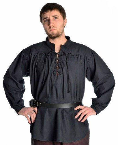 HEMAD Mittelalter Hemd Schnürhemd Stehkragen Hemd schwarz - Mittelalter Kostüm