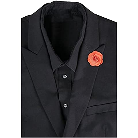 LEORX camelie Boutonniere Lapel Pin-Spilla da uomo per cravatta, colore: arancione