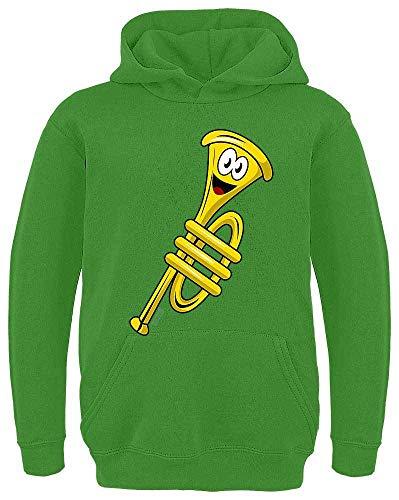 Lustiges Kostüm Spiel Auf Wörtern - HARIZ Kinder Hoodie Trompete Lachend Instrument Kind Lustig Inkl. Geschenk Karte Limette Grün 128/7-8 Jahre