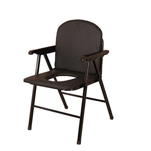 Épaississement Commode Pliable Toilette Bol Toilette Mobile Femme Enceinte Chaise de Toilette Chaise Commode Tabouret Patient Sécurité Toilette Noir