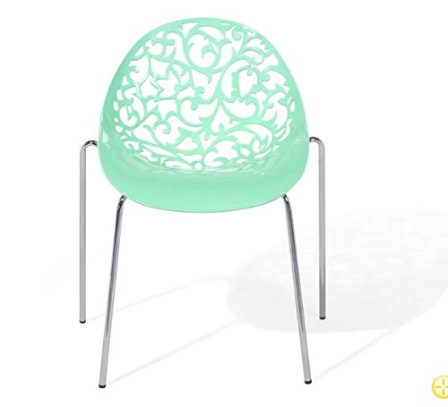 Stylish Plastic Curved Scroll Backrest With Metal Steel Legs Dining Garden Chair – Rust Resistant - Green