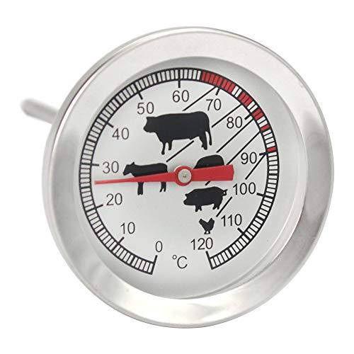 CALATE Braten Grillthermometer, Edelstahl Fleischthermometer, 20 cm Einstichthermometer analog, Silber