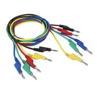 Akozon Banana Test Cable, 5pcs P1036 High Voltage Double Headed 1M 4mm Banana Plug Cable Test Leads for Multimeter