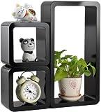 #10: Santosha Decor Wall Decoration Shelf Set of 3 Cube Rectangle Designer Wall Rack And Shelves(Living Room Furniture ) -Black