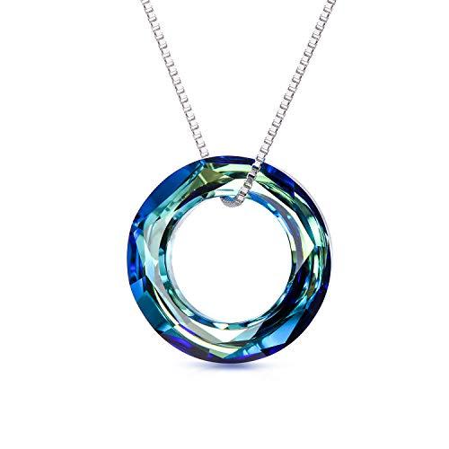 Kette Damen Sterling Silber Kreis Halskette Anhänger mit Swarovski Kristall, Schmuck Geschenk für Freundin Frauen (Blau-20mm)