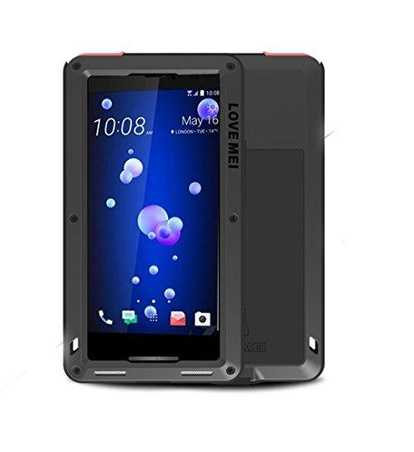 HTC U11 Hülle Case, Eastcoo wasserdicht stoßfest Alloy Aluminum Metal Bumper Gorilla Glass Soft silikon Military Schwer Metall Militär Starkes stoßfestes hartes Hülle Tasche Cover für HTC U11(Black)