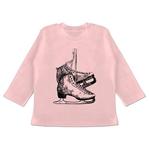 Sport Baby - Schlittschuhfahren - 3-6 Monate - Babyrosa - BZ11 - Baby T-Shirt Langarm