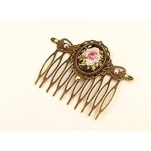 Haarkamm mit Rose in bronze schwarz rosa