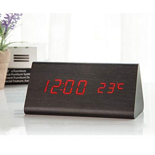HHKLSF Digitaler Wecker Schwarz Desktop Holz Led Uhren Leuchtet Im Dunkeln Sound Control Elektronisches Display Thermometer Wohnkultur Geschenk Schwarzrot