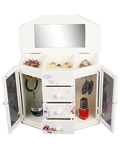 CHAOXIAN Schmuckkästchen Schmuckschatulle Europäische Einfache Holz 4. Etage Mit Einem Spiegel Halskette Ringe Ohrring Aufbewahrungsschränke Geburtstagsgeschenk ( Farbe : A )