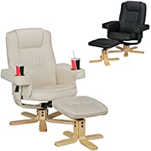 FineBuy RELAX DUO beige silla de TV con portavasos | Butaca TV sin rotación del motor con taburetes | Relaxsessel Beige de cuero sintético con brazos | Silla con soporte de control remoto | Sillón con soporte para teléfono móvil
