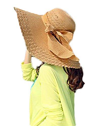 YOUJIA Chapeau de Paille pour Femme Elégante Bord Large Chapeau Fille Plage dans le Soleil Mode Kaki