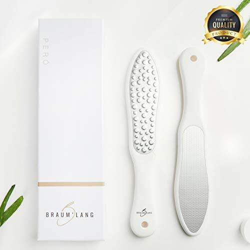 BRAUM\'LANG® Premium Hornhautraspel aus Edelstahl - Innovativer Laser - Hornhauthobel mit diversen Körnungen - Fußpflege, Hornhautentferner, Pediküre