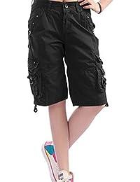 de41cb19e24f6f DEMO SHOW Damen Shorts Lässig Multi Taschen Sport Wear Knielangen Bermuda  Cargo Shorts